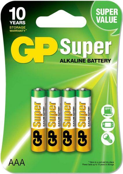 GP Super Alkaline Micro AAA Batterie 1,5V LR3 4er Blister GP24AE-2U4