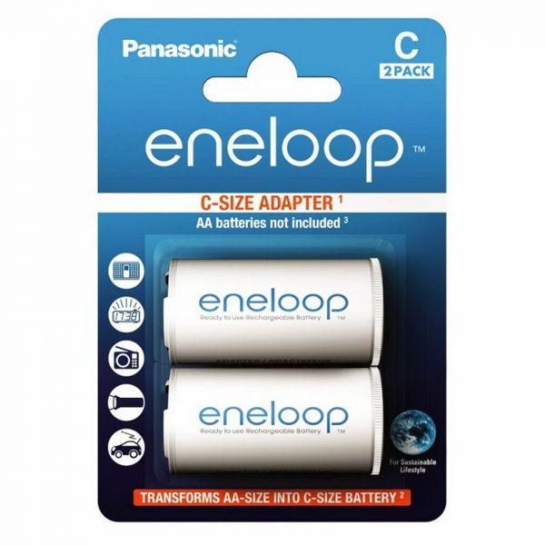 Panasonic Adapter Eneloop AA (R6) nach C (R14) für 1x AA - 2er Blister BQ-BS2E/2E