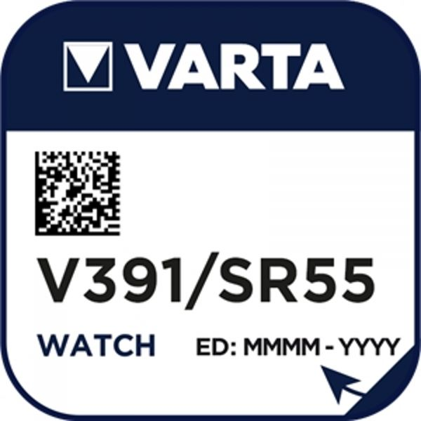 Varta Watch V 391 Uhrenzelle SR 1120 W V391 (SR55) Silber-Oxid Knopfzelle 40mAh 1,55 V 1er Blister V 391