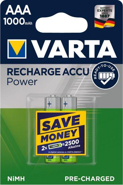 Varta Rechargeable Accu Ready2Use vorgeladener AAA Micro Ni-Mh Akku (2er Blister, 1000 mAh) 5703/BL2