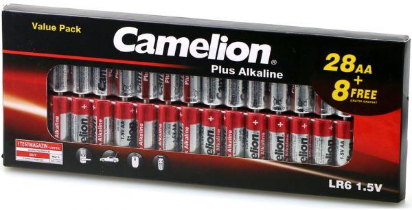 Camelion Plus Alkaline AA LR6 1,5V 28+8er Pack Mignon Batterien BP36 28+8LR6-CB