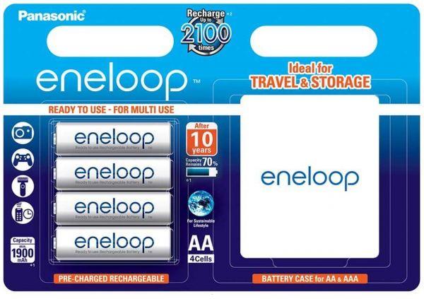 Panasonic Eneloop AA (R6) Akku 4er Blister mit Panasonic Eneloop Batteriebox BK-3MCCEC4BE
