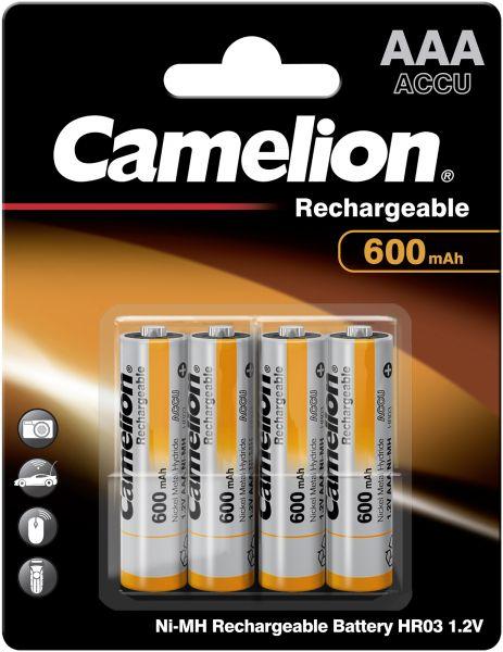 Camelion Ni-MH Rechargeable Akku AAA HR03 1,2V 600 mAh 4er Blister Micro NH-AAA600BP4
