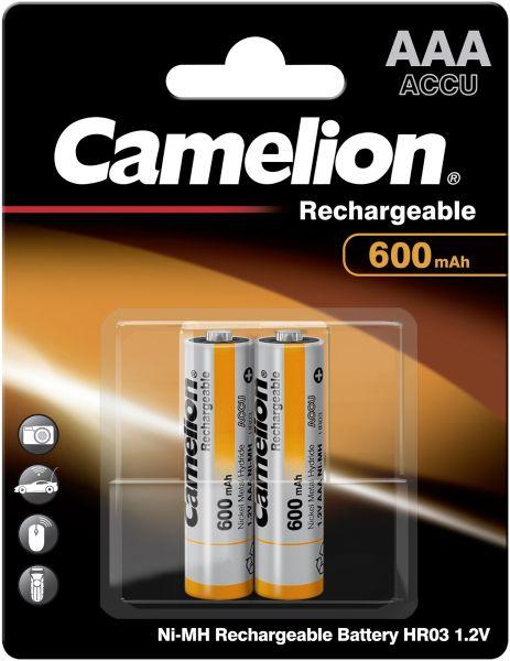 Camelion Ni-MH Rechargeable Akku AAA HR03 1,2V 600 mAh 2er Blister Micro NH-AAA600BP2
