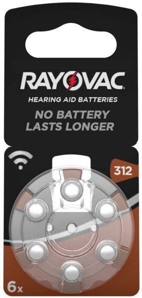 Rayovac Acoustic Special Gr. 312 Hörgerätebatterien 6er Blister PR41 Braun 1,45V 4607