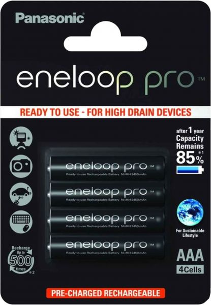 Panasonic eneloop Pro AAA Akku Micro min. 930 mAh 4er Blister 1,2 V LSD BK-4HCDE/4BE