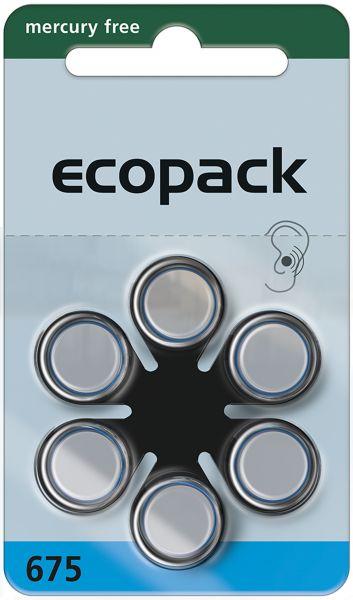 Varta ecopack Gr. 675 Hörgerätebatterien 6er Blister Blau 1,4V 24600 24600726406