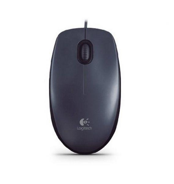 Logitech M100 Kabel Maus kabelgebunden Mouse schwarz/grau 910-005003