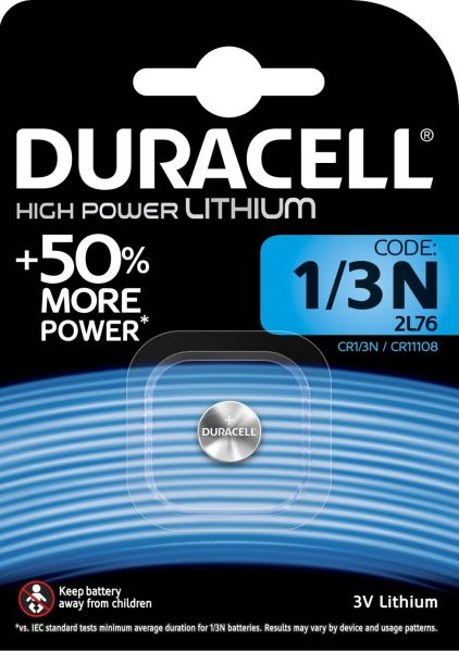 Duracell Specialty 1/3N High Power Lithium Batterie 3 V 2L76 CR1 3N CR11108 1er Blister 1/3N