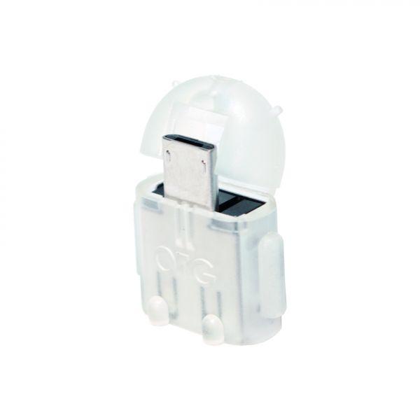 LogiLink Mini Micro USB B/M to USB A/F OTG adapter, transparent
