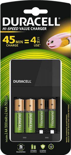 Duracell 1x Speed-Lader 4 Std + 2x AA Akku 1300 mAh + 2x AAA Akku 750 mAh im Blister Ladegerät CEF14