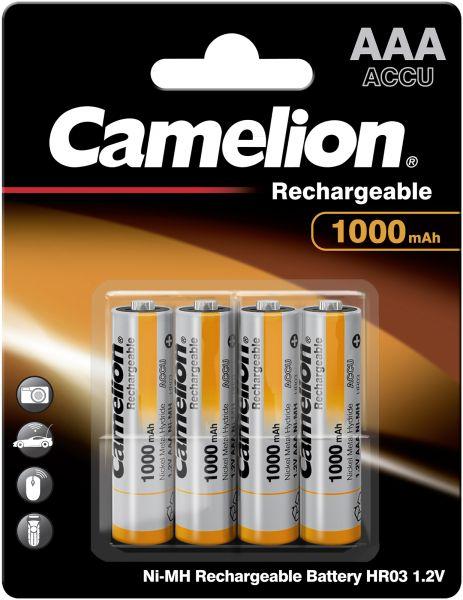 Camelion Ni-MH Rechargeable Akku AAA HR03 1,2V 1000 mAh 4er Blister Micro NH-AAA1000BP4