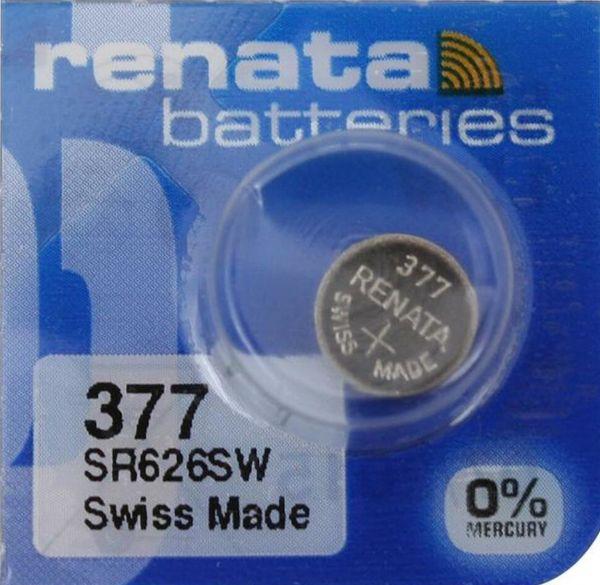 Renata Watch 377 Uhrenbatterie SR626SW MF 0% Mercury 1,55 V Battery 1er Blister (aus 10er Stripe) 377