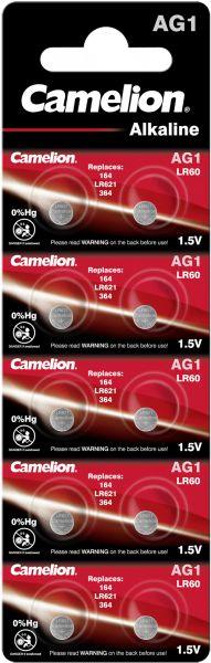 Camelion Alkaline Knopfzelle AG1 LR60 LR621 364 1,5 V 10er Blister AG1-BP10