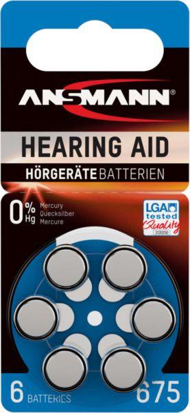 ANSMANN Hörgerätebatterien Blau PR44 675 1,45V 6er-Blister 0%HG LGA Tested Quality 5013253
