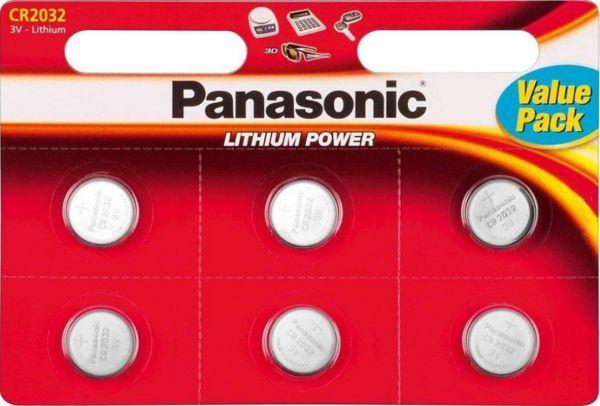 Panasonic Lithium 3V Zelle 6er Blister CR2032 IEC C Knopfzelle CR-2032EL/6BP