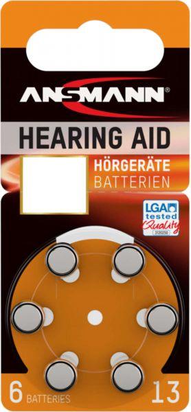 ANSMANN Hörgerätebatterien Orange PR48 13 1,45V 6er-Blister 0%HG LGA Tested Quality Testsieger 02/20