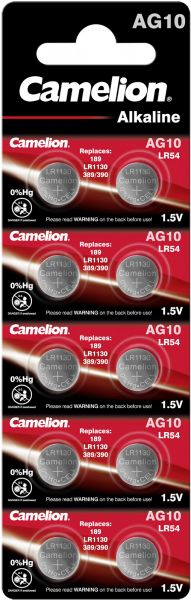 Camelion Alkaline Knopfzelle AG10 LR54 LR1130 389 1,5 V 10er Blister AG10-BP10