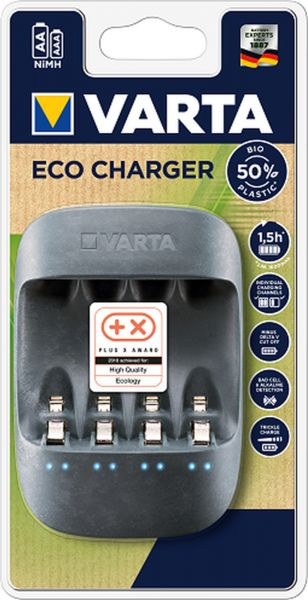 Varta Ladegerät AA/AAA eco charger 50% recycling Plastic 1,5h quick charge, trickle charge, bad cell detection, Einzelschachtladung 57680