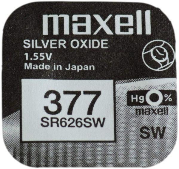 Maxell 377 Uhrenzelle Silber Oxid Knopfzelle SR 626 SW V377 M377 24mAh 1,55 V 1er Blister SR626SW