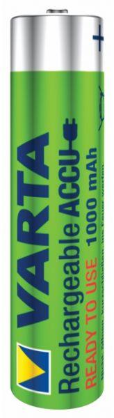 Varta 1 Zelle Varta Rechargeable Accu Ready2Use vorgeladener AAA Micro Ni-Mh Akku Bulk (1000 mAh) 57