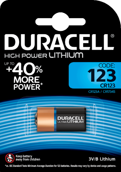 Duracell CR123 High Power Lithium 1er Blister Photobatterie CR123A 3V/B CR17345 123