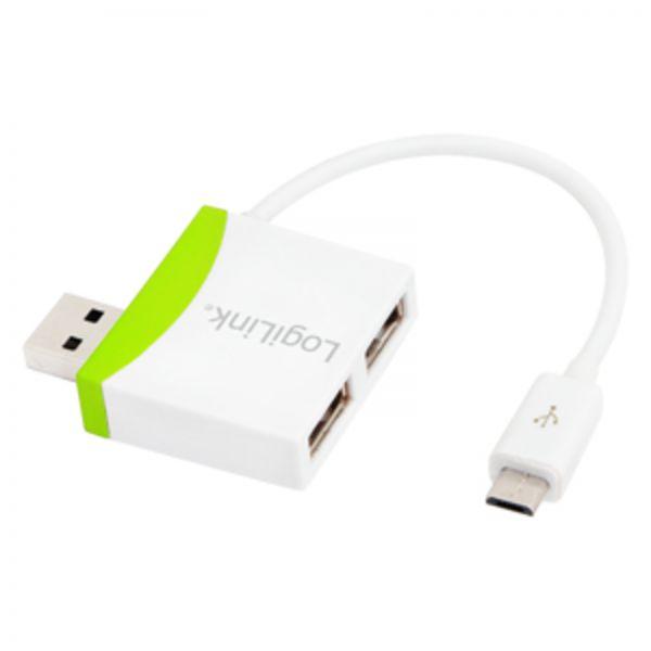 LogiLink USB to Micro USB cable w. 2-port USB Hub, 0,1m