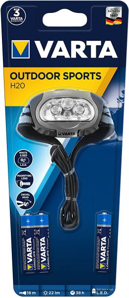Varta Outdoor Sports H20 Stirnlampe Multifunktions-Kopfleuchte mit 4 High-End LEDs, 2-Stufen-Schaltf