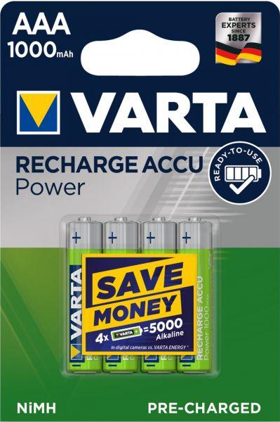 Varta Rechargeable Accu Power Ready2Use vorgeladener AAA Micro Ni-Mh Akku (4er Blister, 1000 mAh) 57