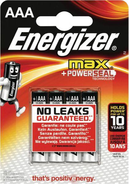 Energizer Max AAA 4er Blister Micro Batterie 1,5V LR03 E300124200