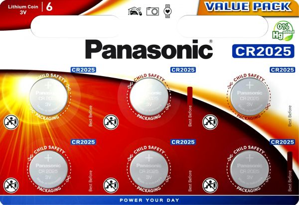 Panasonic Knopfzelle Lithium CR2025 6er Blister 3V CR-2025EL/6BP