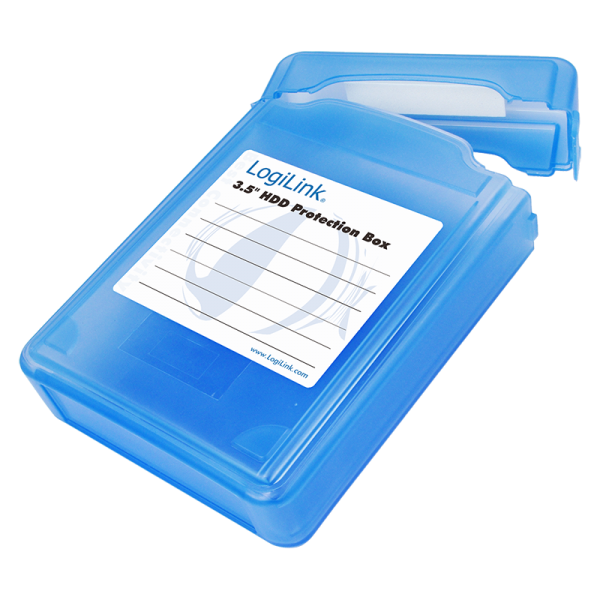 "LogiLink 3,5"" HDD protection box for 1 HDD, blue"