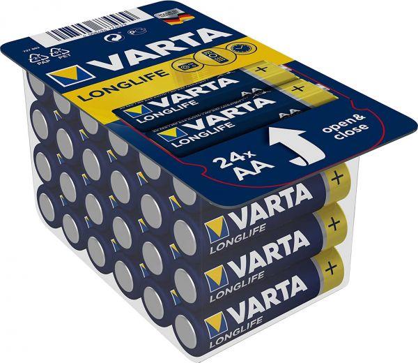 Varta Longlife AA Mignon Alkaline Batterie 24er Blister LR6 MN1500 Stilo 1,5 V 4106