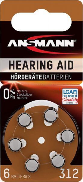 ANSMANN Hörgerätebatterien Braun PR41 312 1,45V 6er-Blister 0%HG LGA Tested Quality 5013233