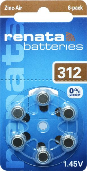 Renata Gr. 312 Hörgerätebatterien 6er Blister PR41 Braun REB 100792