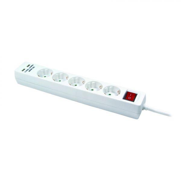 LogiLink Steckdosenleiste 5-fach Verteiler mit 2x USB 1,4m