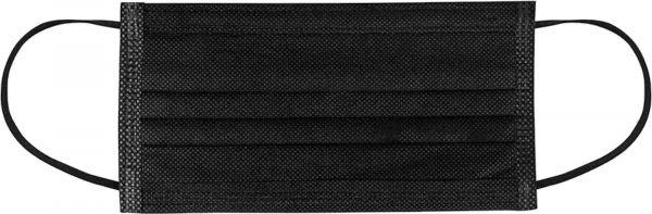 EWANTO Einweg Gesichtsmaske aus Vlies, gegen Tröpfchen, Staub und Luftverschmutzung, Mund-Nasen-Bedeckung, Masken mit Ohrenschlaufen schwarz OP-02