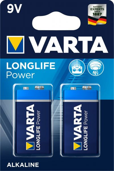 Varta Longlife Power Alkaline 9V Batterie 2er Blister 4922