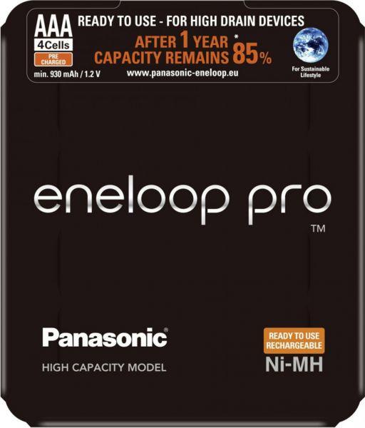 Panasonic eneloop Pro AAA Akku Micro min. 930 mAh 4er Blister 1,2 V LSD in der Aufbewahrungsbox BK-4
