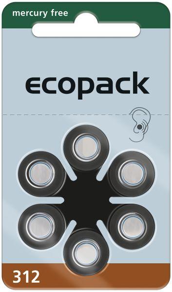 Varta ecopack Gr. 312 Hörgerätebatterien 6er Blister Braun 1,4V 24607 24607726406