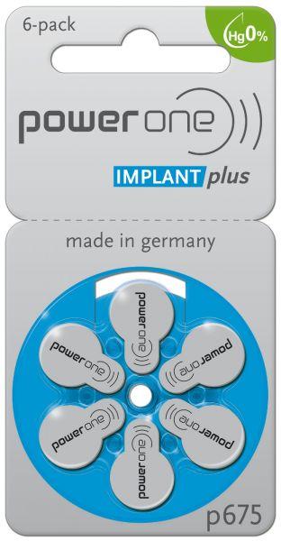 Varta Power One Implant Plus Cochlear Hörgerätebatterien 6er Blister PR44 Blau