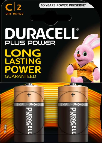 Duracell Plus Power C LR14 Baby 1,5 V Alkaline Batterie 2er Blister MN1400 Mezza Torcia MN1400
