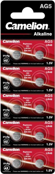 Camelion Alkaline Knopfzelle AG5 LR48 LR754 393 1,5 V 10er Blister AG5-BP10