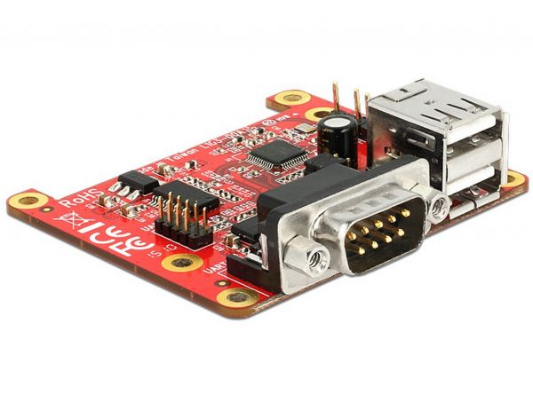 Delock Konverter Raspberry Pi USB Micro-B Buchse / USB Pin Header > 2 x USB Typ A Buchse + 2 x Seriell RS-232 62649