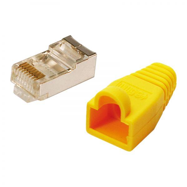 LogiLink Modularstecker CAT5e mit Knickschutzhülle gelb 100 Stück