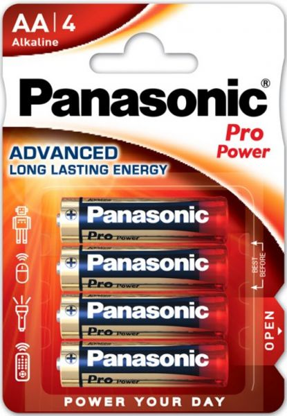 Panasonic LR6PPG/4BP Pro Power Mignon AA, LR6 AM3 Alkaline 4er Blister MN1500 LR6PPG/4BP LR06