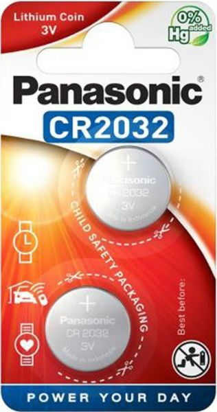 Panasonic Lithium 3V Zelle 2er Blister CR2032 IEC C Knopfzelle CR-2032EL/2B