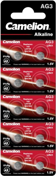 Camelion Alkaline Knopfzelle AG3 LR41 LR736 392 1,5 V 10er Blister AG3-BP10