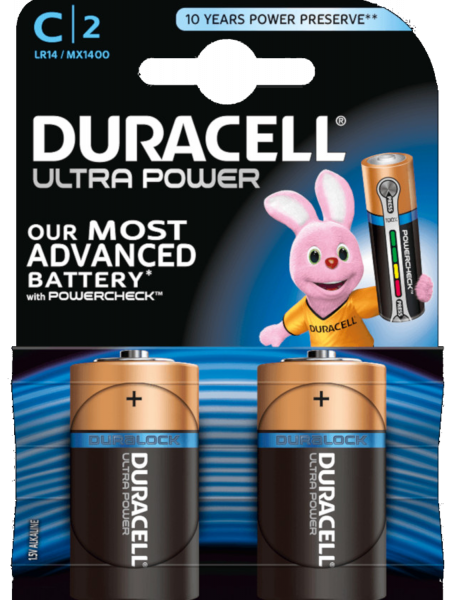 Duracell ultra power C LR14 Baby 1,5 V Alkaline Batterie 2er Blister MX1400 Mezza Torcia MX1400