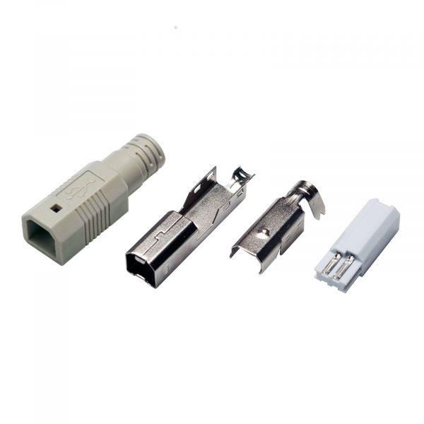 LogiLink USB-B Plug solder type, set w. 4 parts incl. Boot, grey UP0002